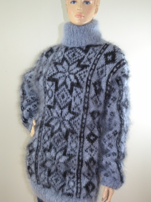 Fair Isle hand knitted mohair sweater grey black