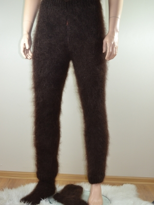 Hand knitted mohair mens pants with front zipper and socks brown