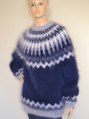 Icelandic crewneck mohair sweater navy blue - L-XL