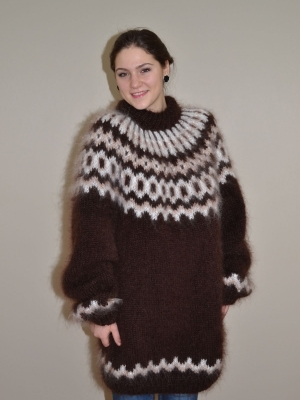 Chocolate Icelandic mohair sweater unisex -XXL