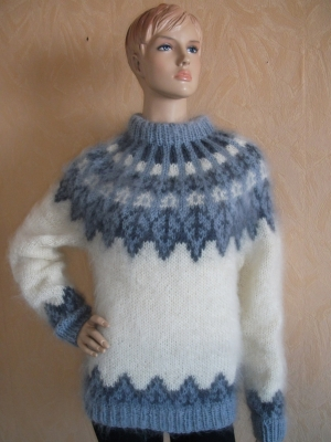 Mohair hand knitted Icelandic longhair sweater champagne - unise
