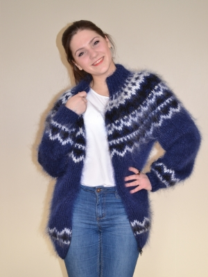 Icelandic mohair sweater with zipper- navy blue