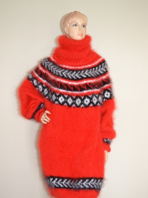 Icelandic mohair turtleneck sweater dress hot red
