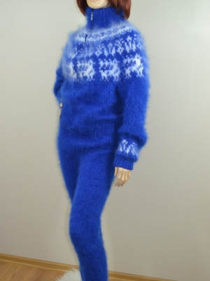 Icelandic mohair sweater- bodysuit with zipper brigh blue