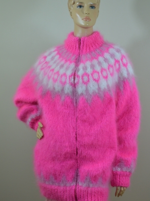 Mohair hand knitted Icelandic cardigan with zipper -neon pink