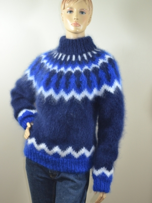 Navy blue Icelandic mohair crewneck sweater-L