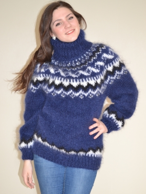 Gefjun Icelandic mohair turtleneck sweater - navy blue - L