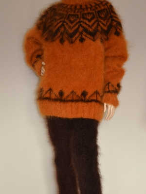 Icelandic turtleneck mohair sweater mustard- One size+chocolate