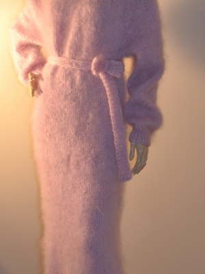 Long mohair pink dress