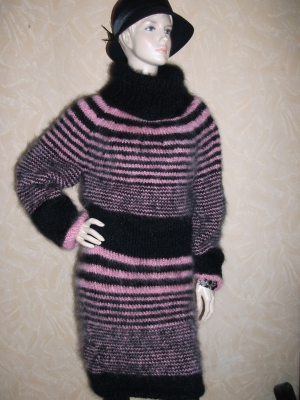 Longhair Mohair Turtleneck Sweater Dress striped in black and pi