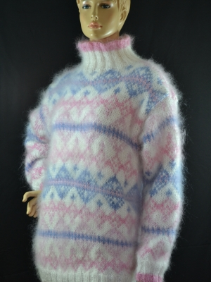 Norwegian mohair sweater pastel colors -L