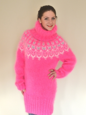 Icelandic mohair  sweater -dress neon pink- One size