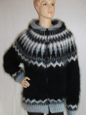 Icelandic mohair sweater- cardigan with hood and zipper