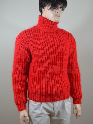 Mohair and merino wool swedish style sweater- hot red - L