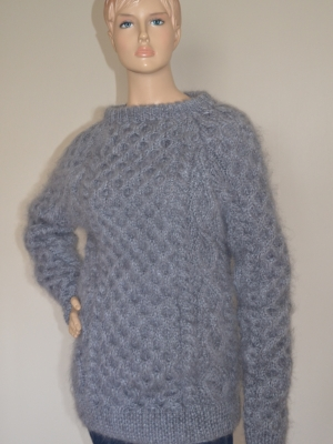 Mohair crewneck Aran sweater grey -mens -L