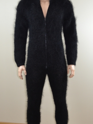 Mohair mens bodysuit with double opening zipper and feet