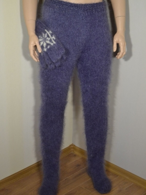 Mohair trousers and gloves jeans blue