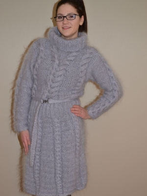 NEW MOHAIR HAND KNITTED DRESS-SILVER GREY