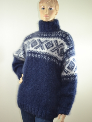 Navy blue mohair Norwegian sweater-L-XL