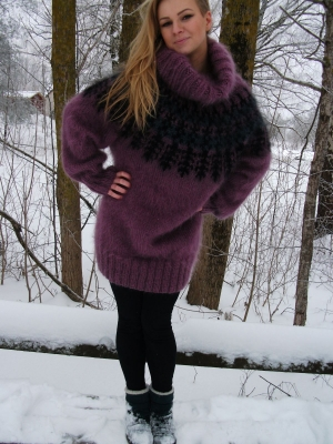 Icelandic turtleneck mohair sweater Dried roze-XL