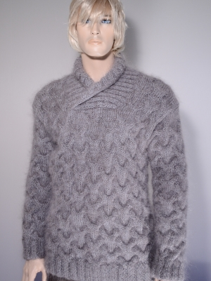 New hand knitted thick mohair and cashmere fishermens sweater gr