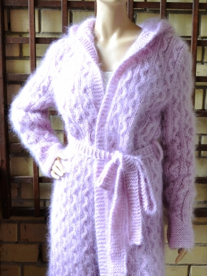 Mohair sweater cardigan coat with belt and hood