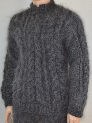 New hand knitted thick mohair zipneck cable knitted Aran sweater