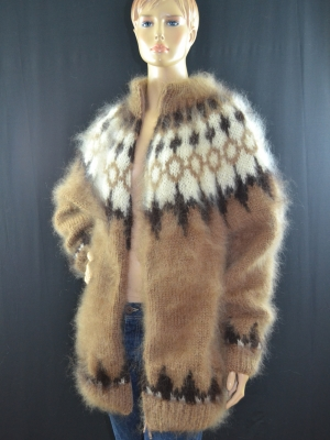 Icelandic mohair sweater brown with zipper-L XL
