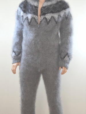 Icelandic mohair mens bodysuit with double opening zipper