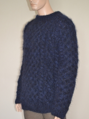 New thick mohair , merino crewneck Aran sweater black, navy blue