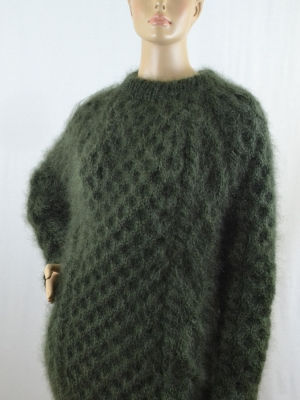 New thick mohair crewneck Aran sweater mossy green unisex L