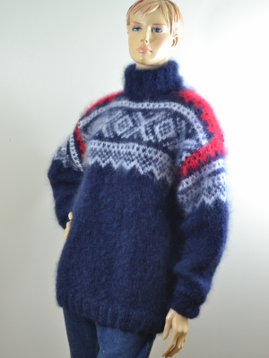 Norwegian Ingenua  mohair turtleneck sweater navy blue white red