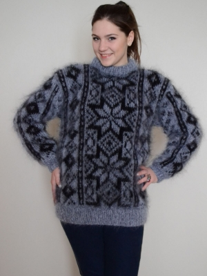 Fair Isle sweater dark grey-L