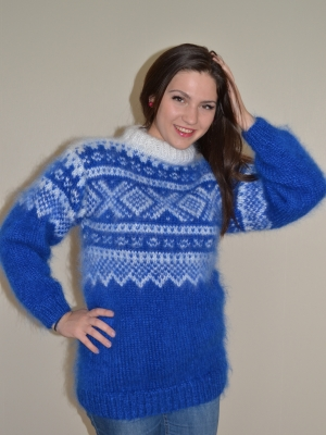 Norwegian mohair sweater-ultramarine - L