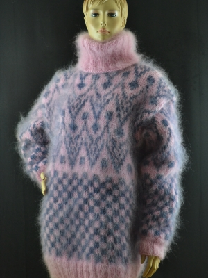 Norwegian mohair sweater pink with jeans blue -XL