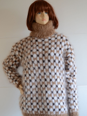 Norwegian mohair sweater brown -white - XL