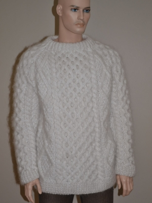 Thick Aran sweater- white - XXL