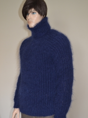 Thick Swedish style mohair and wool sweater navy blue