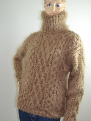 Thick mohair cable knitted sweater- brown