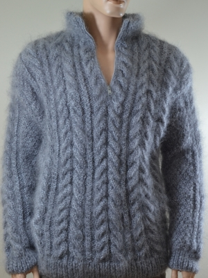 Thick mohair zipneck cable knitted Aran sweater gray-XL