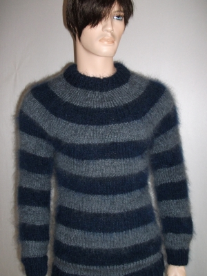 Thick striped mohair wool sweater navy blue and dark grey