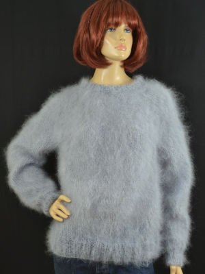 Thin mohair crewneck sweater-light grey