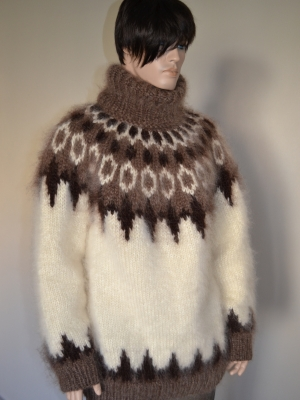 Heavy Icelandic mohair sweater-cream - XL