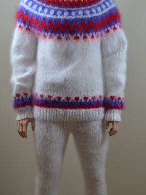 Hand knitted mohair Icelandic turtleneck sweater and pants white