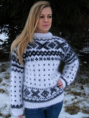 Norwegian mohair sweater white-M-L