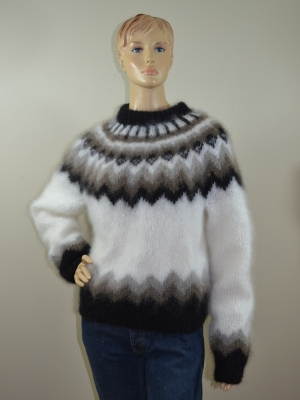 Katia Ingenua  mohair hand knitted Icelandic sweater white brown
