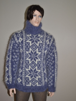 Fair Isle hand knitted sweater jeans blue - L