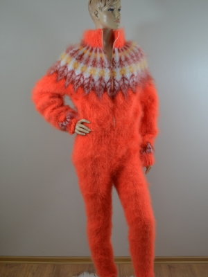 Icelandic mohair sweater bodysuit with zipper Neon orange M- L