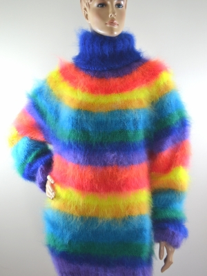 MOHAIR HAND KNITTED TURTLENECK SWEATER RAINBOW UNISEX