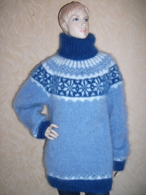 Icelandic turtleneck mohair sweater sky blue- One size